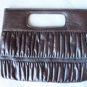 Express Brown Leather clutch handbag (#EV345)